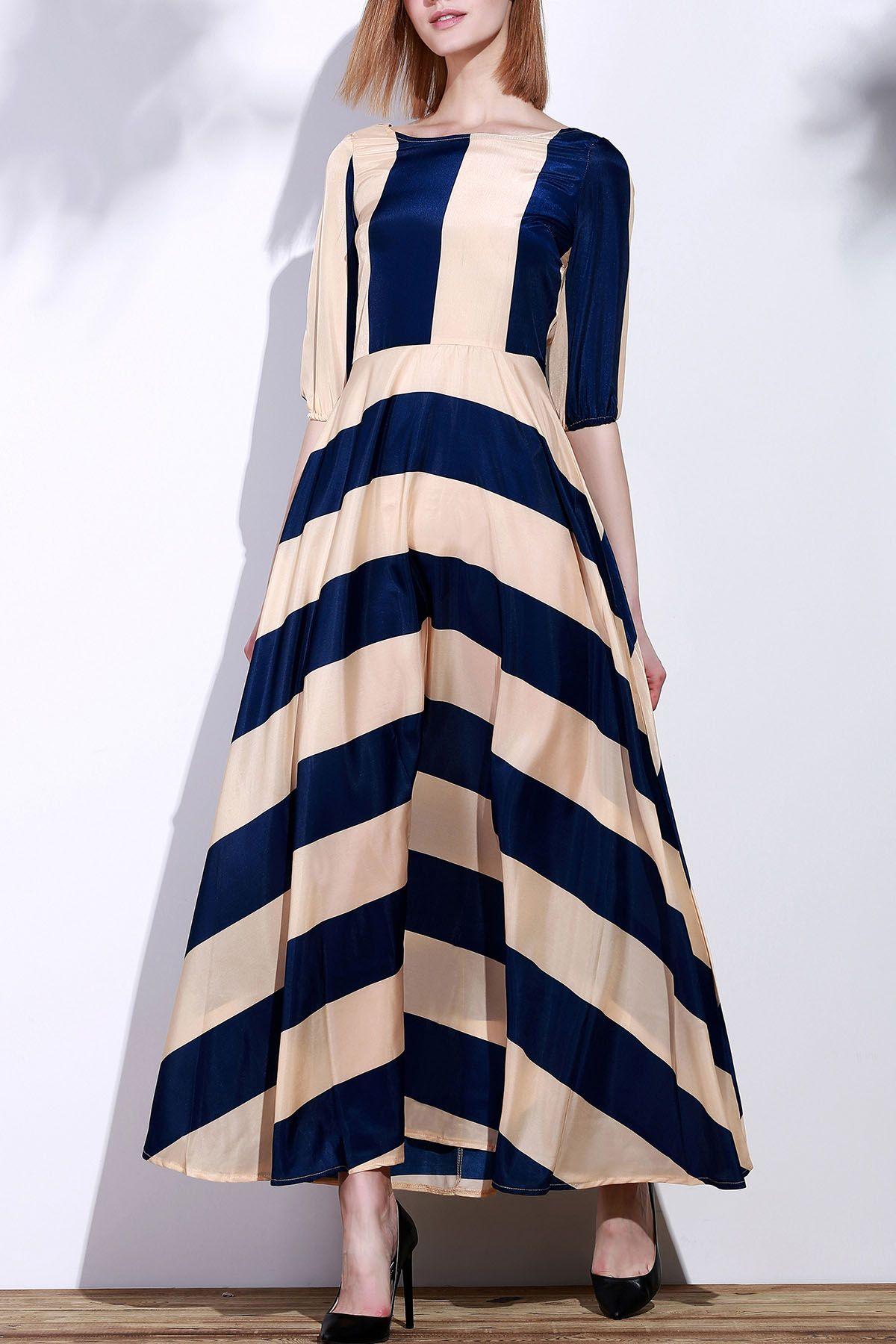 Striped Scoop Neck 3 4 Sleeve Maxi Dress Deep Blue Womens Maxi Dresses Long Sleeve Casual Dress Maxi Dress [ 1800 x 1200 Pixel ]
