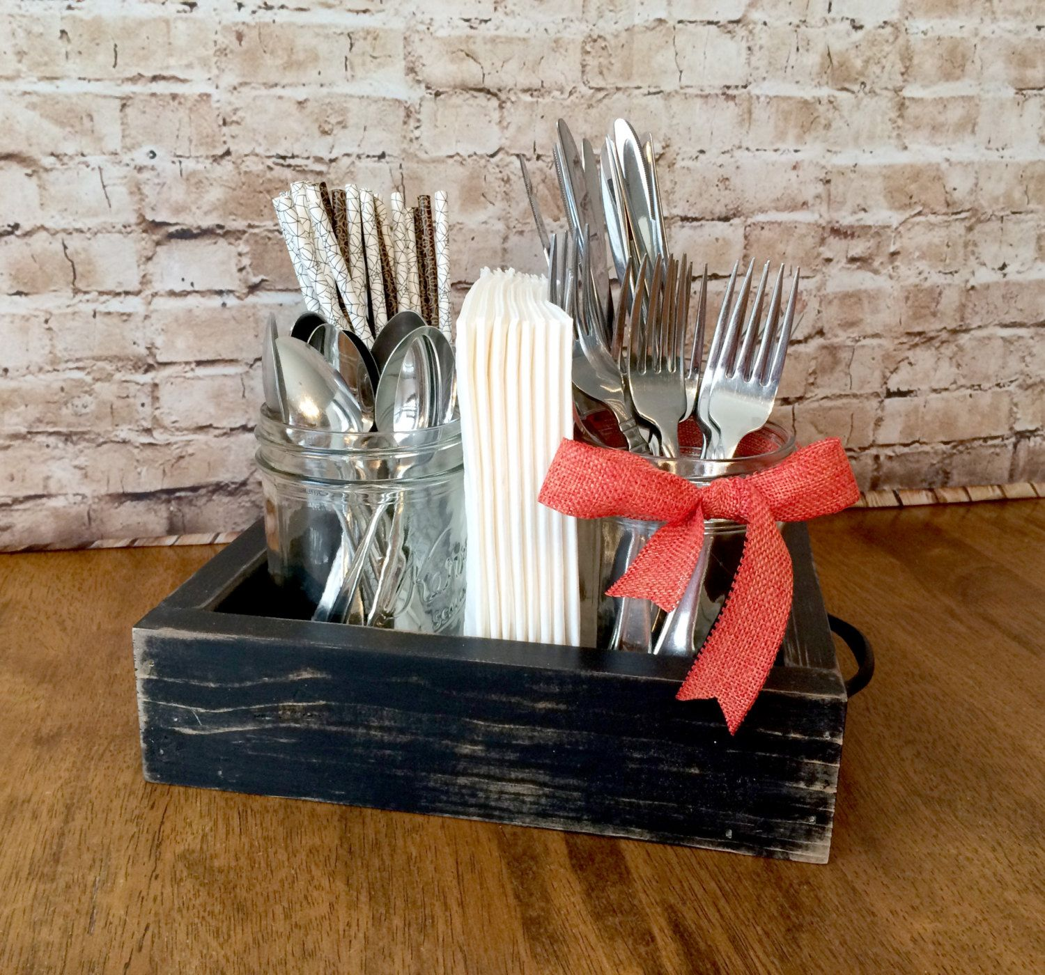 Distressed farmhouse style utensil and napkin holder with