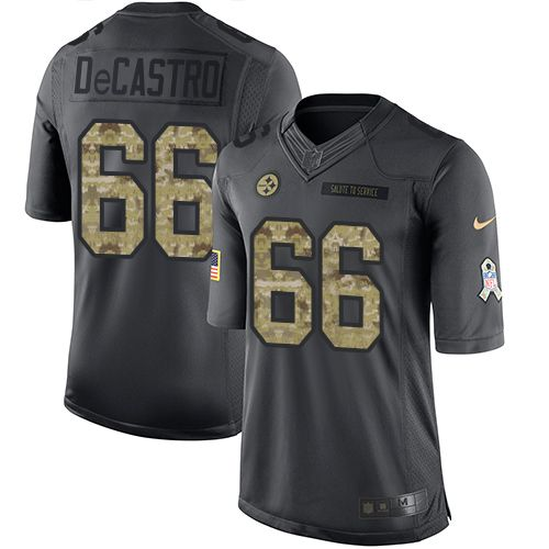 Men's Pittsburgh Steelers #66 David DeCastro Black Anthracite 2016 Salute To Service Stitched NFL Nike Limited Jersey