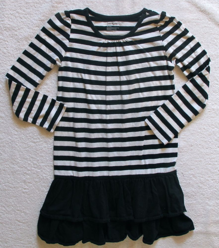Girls Toddler Baby Gap Black White Striped Long Sleeve Dress Sz 5 Years 5t Fashion Clothing Shoes Accessories K Striped Long Sleeve Clothes Fashion Wear [ 1000 x 883 Pixel ]