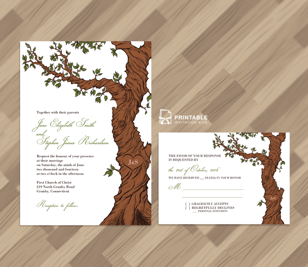 Free PDF Rustic Wedding Invitation and RSVP Template Fairytale Tree ...