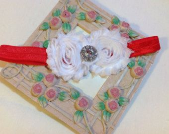 Christmas Headband, White Shabby Chic Flowers on an Red Headband with Rhinestone/Pearl Embellishment, Infant to Adult