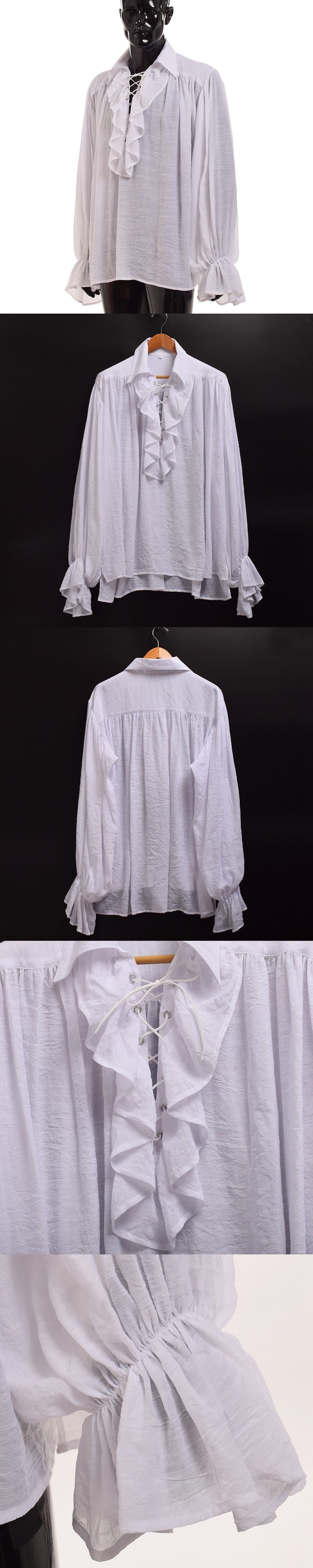 9f359a1b79a4f0 Vintage Men White Ruffled Pirate Shirt Medieval Renaissance Poet Vampire  Colonial Jabot Blouse Long Sleeve Clothing