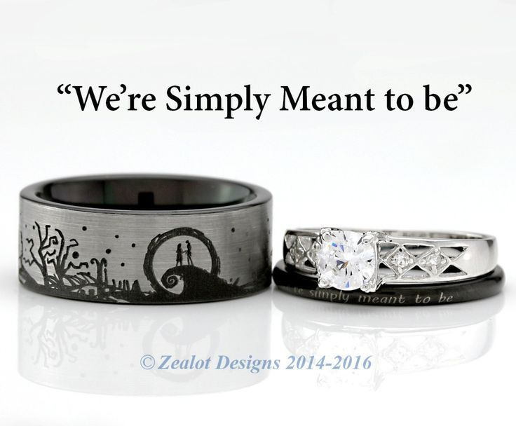 Nightmare Before Christmas His And Her S 3piece Engagement Set
