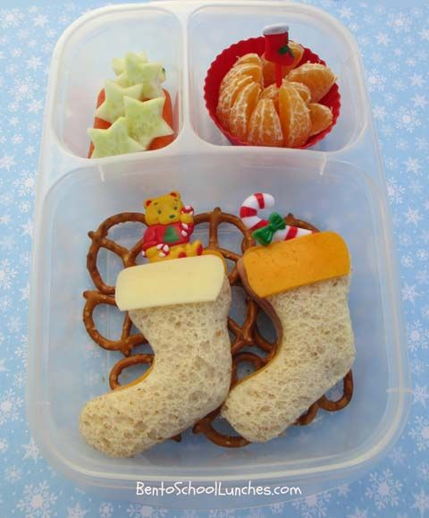 Bento Lunch: Christmas Stockings #bento #Christmas #stockings @Kelly Teske Goldsworthy Lester / EasyLunchboxes www.facebook.com/BentoSchoolLunches