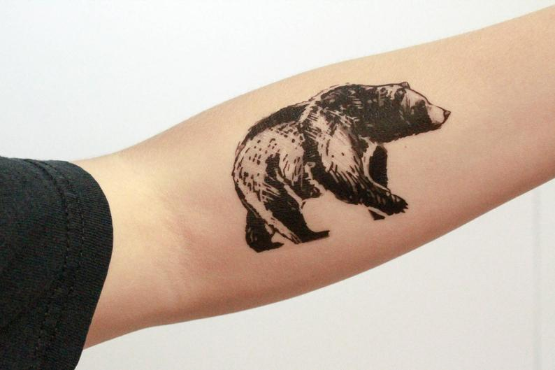Bear Temporary Tattoo Black Ink Forest Animal Tattoo Nature | Etsy
