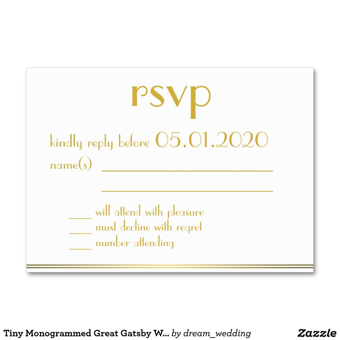 Tiny Monogrammed Great Gatsby Wedding RSVP Cards Large Business Card ...