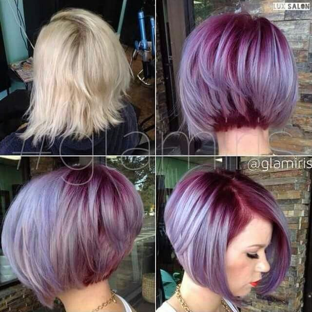 Root Touch Up Idea Dark Purple Roots Fading Into Pastel Hair Styles Bob Hair Color Short Hair Styles