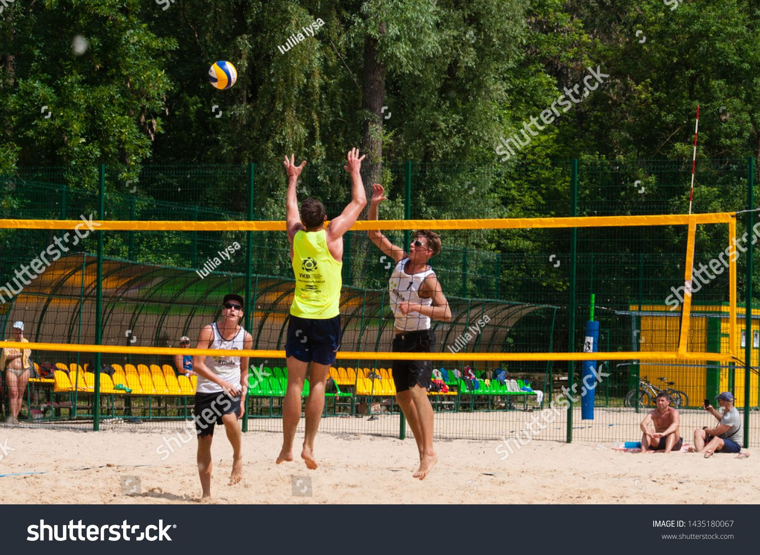 Ukraine Chernigov June 9 2019 Beach Volleyball Championship Of The City Beautiful Young Sports Strong Men Play Volley In 2020 Photo Editing Beach Beach Volleyball