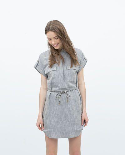 1393d1a511 LINEN SHIRTDRESS BELT-View all-Dresses-WOMAN-SALE