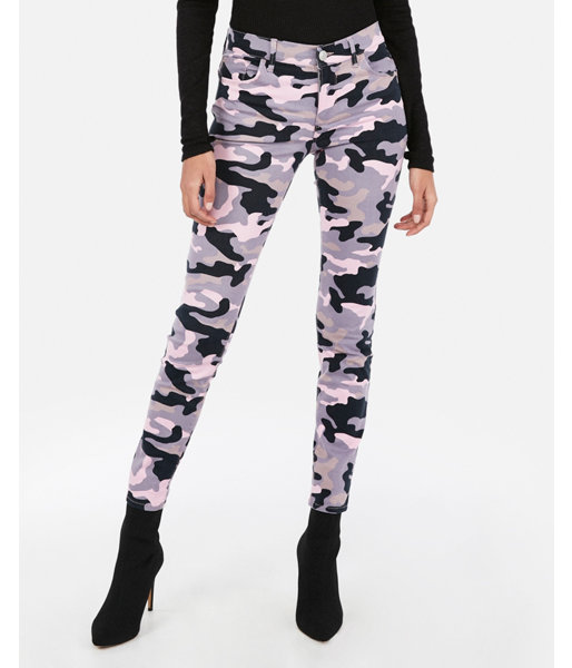ab326660ef8ba Express Mid Rise Pink Camo Print Stretch Ankle Leggings in 2019 ...