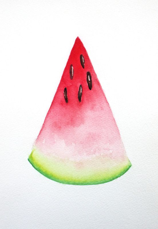 Watermelon Watercolor 9 X 12 Watermelon Painting Watermelon