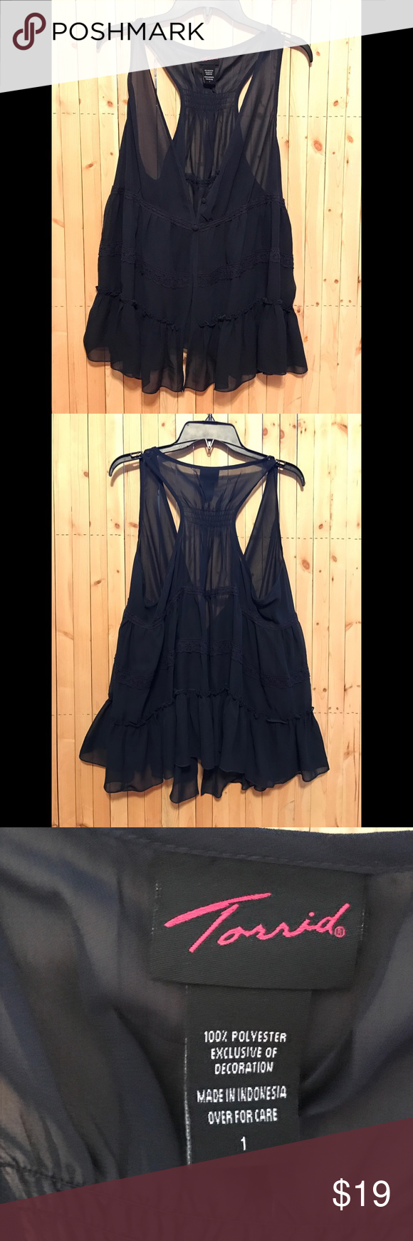 Torrid Navy Blue Sheer Sleeveless Cardigan sz 1 | Torrid, Lace ...