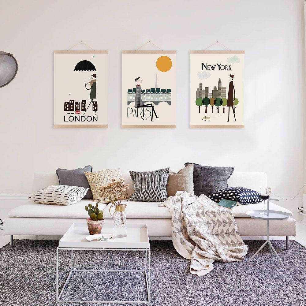 3 London New York Paris Modern Abstract A4 Poster Prints World City ...