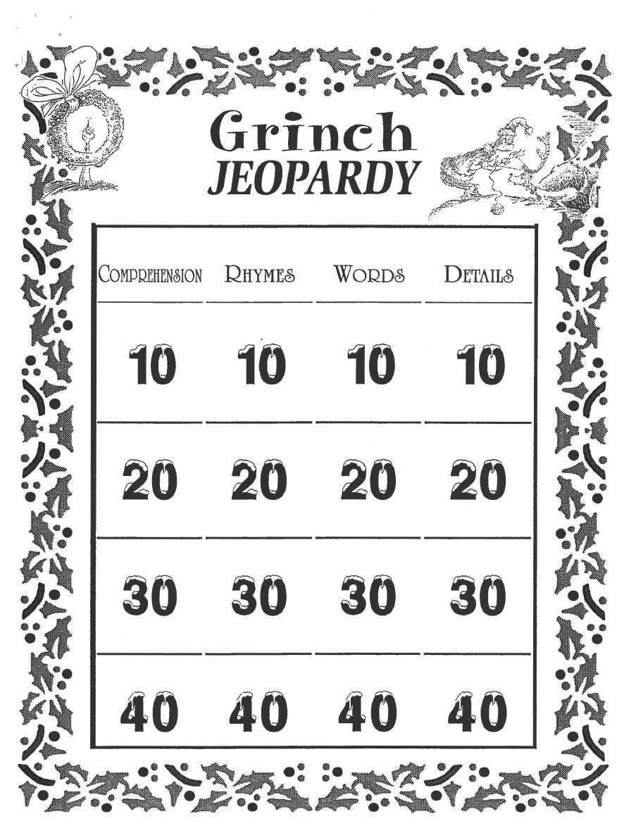 Grinch Jeopardy Activity From Konicki  Scribd You Can Right