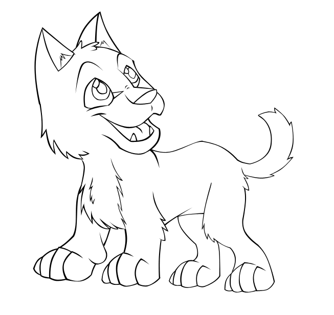 Baby Wolf Coloring Pages Cute Wolf Pup Drawing Images Pictures
