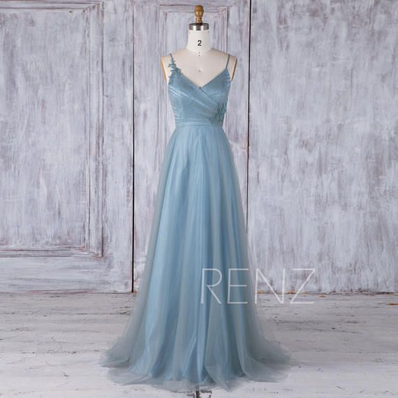 Dusty Blue Tulle Mix Match Bridesmaid Dress,Ruched Bodice Wedding ...