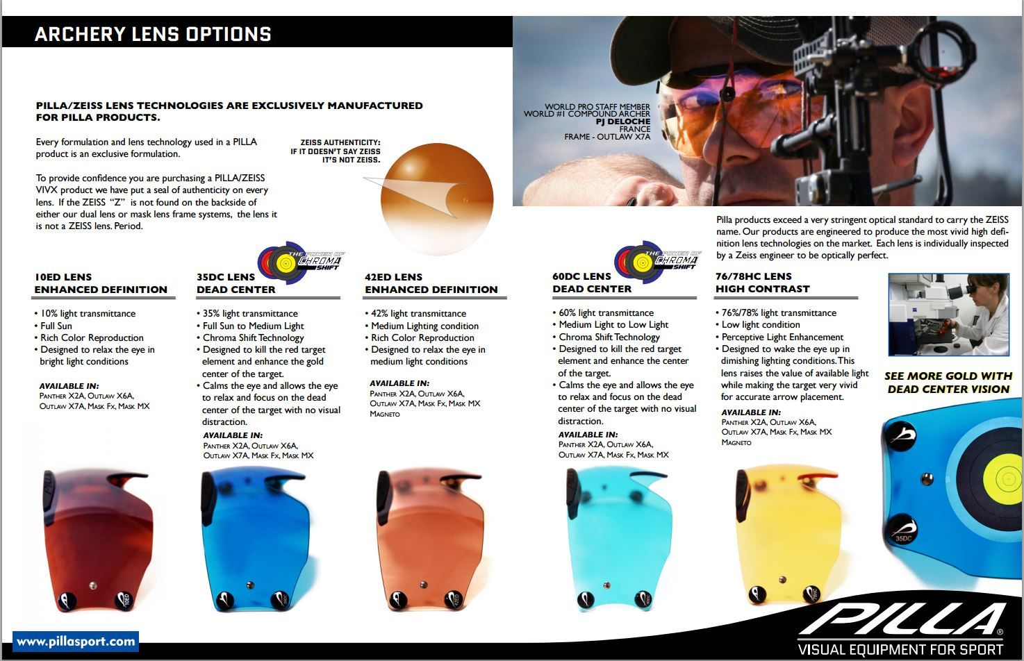 Archery Lens Options pilla pillasport