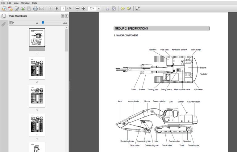Hyundai R250lc 3 Crawler Excavator Service Repair Manual Pdf Download Repair Manuals Hyundai Excavator