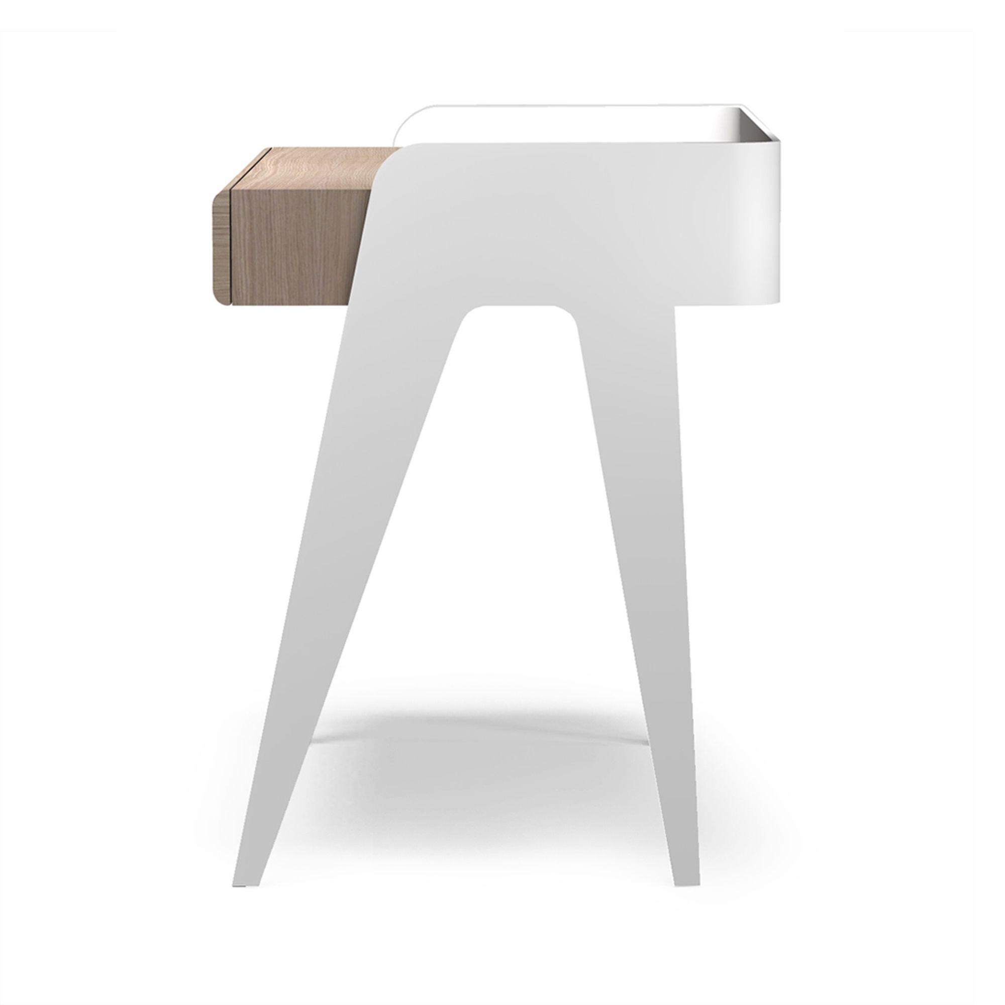Bureau D Angle Arrondi bureau chêne laqué blanc design scandinave. 100% made in