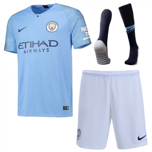 6221062c679 18-19  manchestercity  Home Soccer Jersey Kit(Shirt+Short+Socks ...