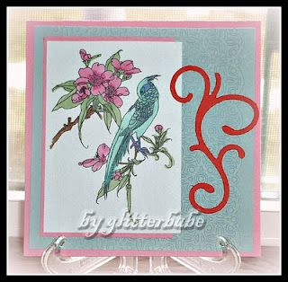 """i've been """"delving"""" in the 5-1/2 x 5-1/2 size cards and i must say... i love it.  love the room to play in!  the iimage is from FLOPPY LATTE DESIGNS; the swirl i found in my stash; the emboss is called PAPER LACE (cuttlebug)."""