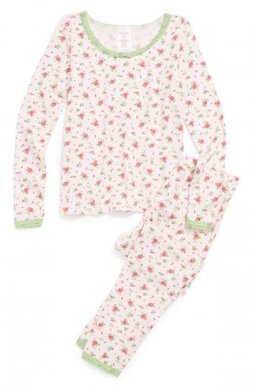 2a8400e7e Ruby Bloom Two Piece Fitted Pajamas Little Girls Big Pink Roses 6 ...