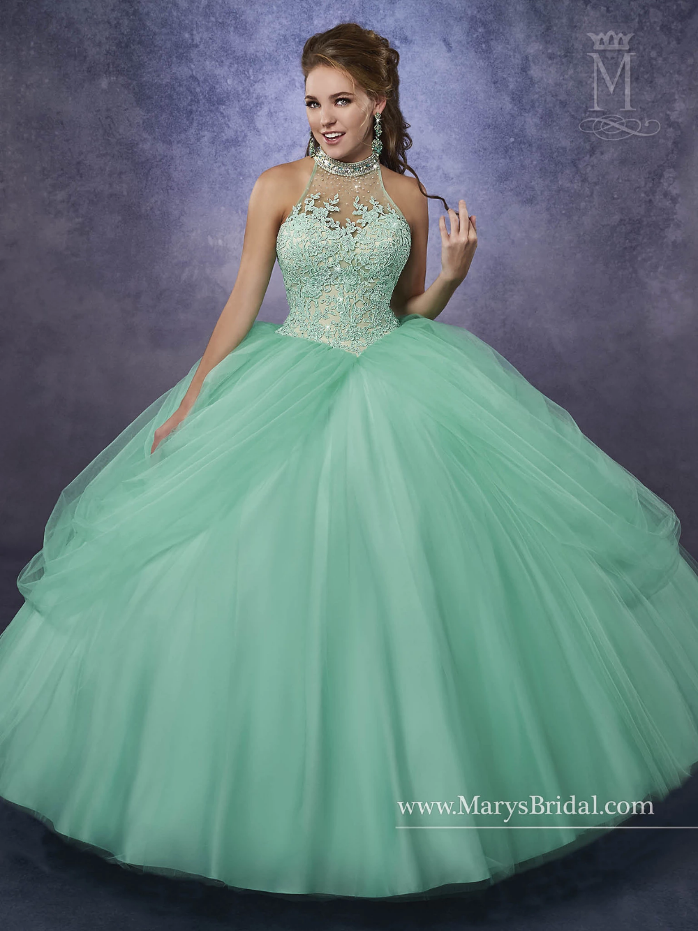 Mary's Bridal Princess Collection Quinceanera Dress Style 4Q474 - Quincenera dresses, Quinceanera dresses, Quince dresses, Prom dresses ball gown, Sweet 16 dresses, Ball gowns - Elegant and timeless, light up the room in a Mary's Bridal Princess Collection Quinceanera Dress Style 4Q474 at your Sweet 15 party or at any formal event  Tulle quinceanera ball gown with beaded halter neck line, lace bodice, pannier skirt, laceup back, and sheer bolero  Colors Mint Green, Pink, or White Please allow 4  5 months for delivery because Mary's Bridal Quinceanera dresses are madetoorder  If you want to put this ball gown on Layaway, please select the  Pay 50% Deposit  option  How it works We divide the remaining balance of your item(s) equally into 3 months  Then every month, we notify you that we're going to process your monthly payment  If you'd like to pay more towards your balance, simply call or email us  It's that easy!