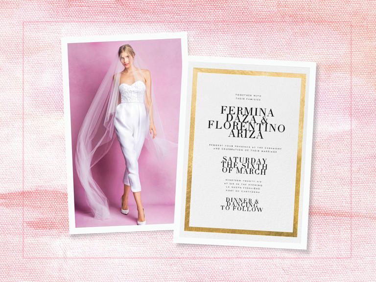 Modern wedding style with edgy jumpsuit and foil invitation