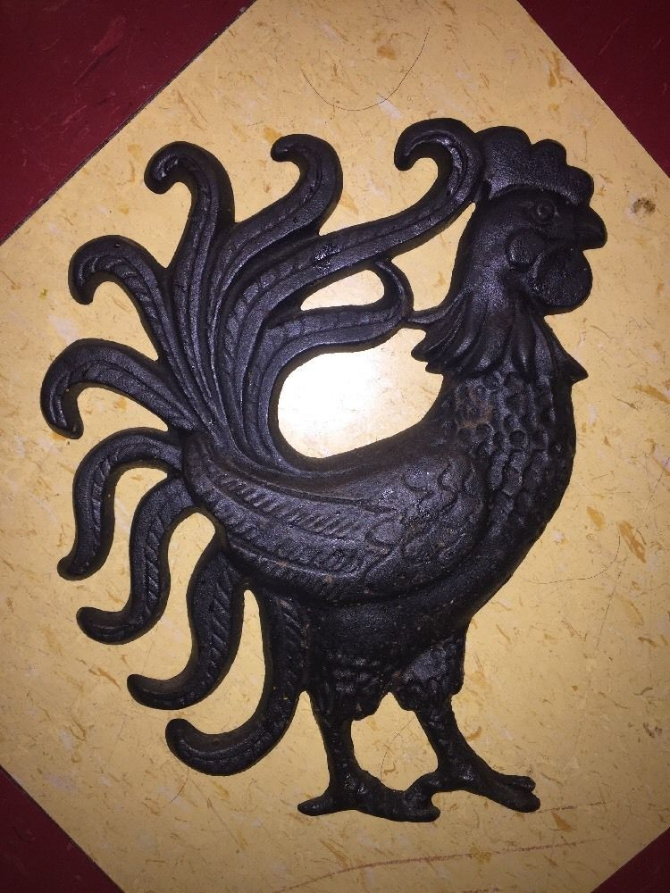 Heavy Vintage Cast Iron Rooster Wall Hanging Ebay My Vintage