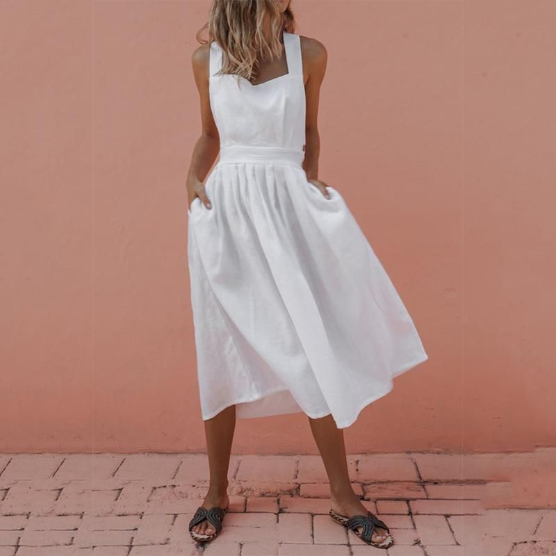 563fa9ff1a8af Sexy Backless Cross Sleeveless Plain Maxi Dresses in 2019 | Style ...