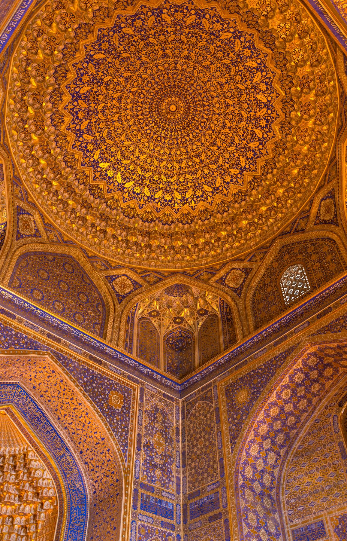 The Insane Fractalling Ceiling Of The Registan Mosque In Samarkand Uzbekistan It S Gold Plated With Images Islamic Architecture Mosque Islamic Art