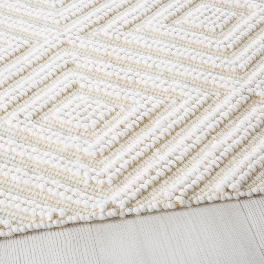 Ecrukleurig Tapijt Van Wol En Katoen Met Grafisch Motief 140x200 Teppich Baumwollteppiche Wollteppich