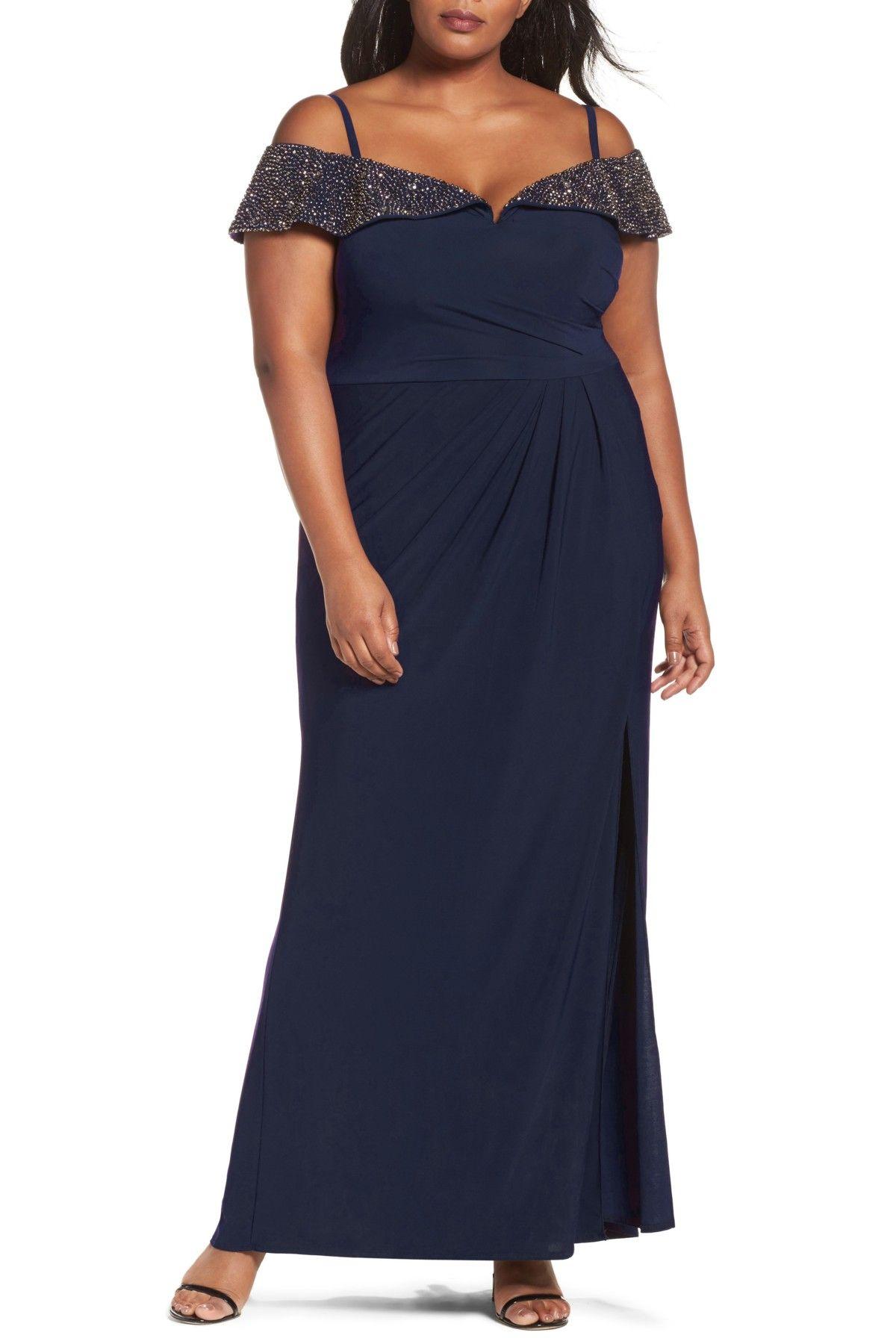 Xscape Beaded Neck Empire Gown Plus Size Nordstrom Plus Size Outfits Plus Size Dresses Gowns [ 1687 x 1100 Pixel ]