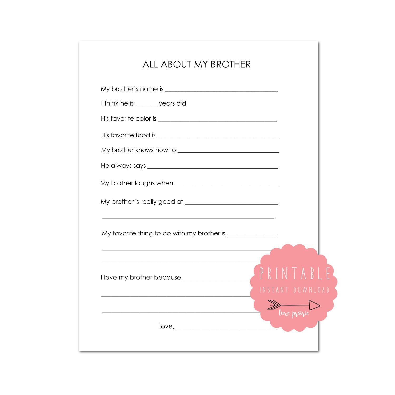 All About My Brother Printable About My Brother T