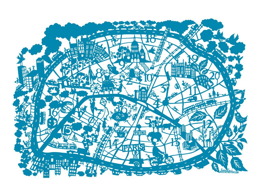 Paris hand screen printed city map