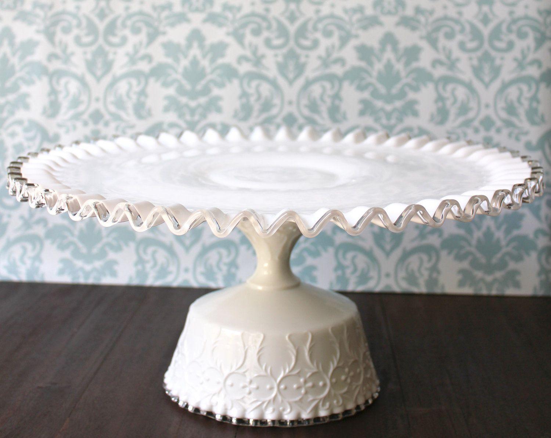 "16"" Milk Glass Cake Stand Pedestal / Cake Plate Pedestal"
