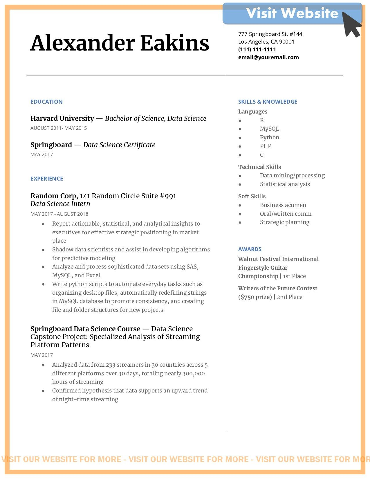 Business Data Analyst Resume Examples Free Word Pdf