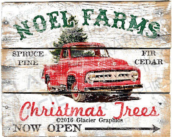 Country Christmas Tree Farm Primitive Sign Digital