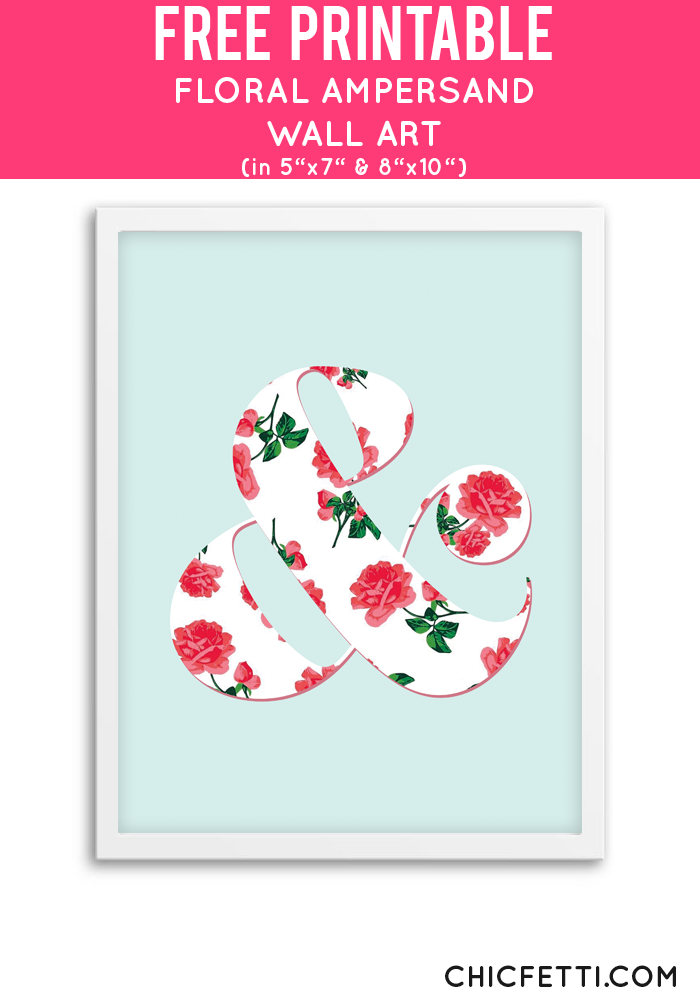 Floral Ampersand Wall Art (Coral) | Free Printables - Free Printable