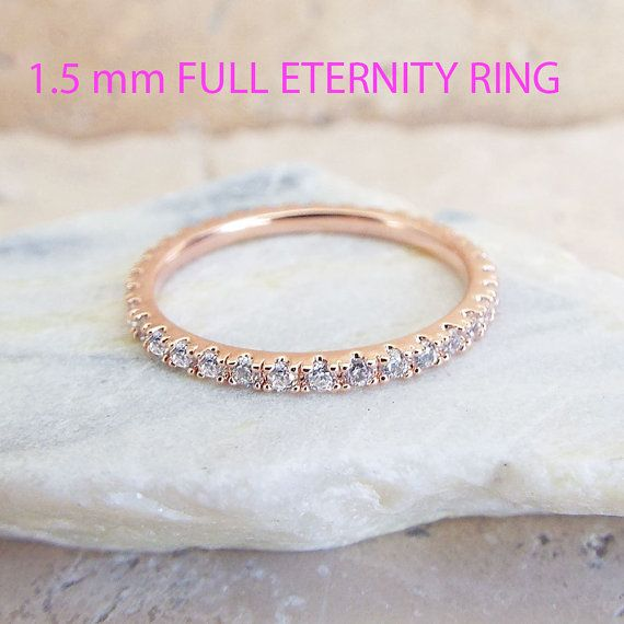 Cz Rose Gold Eternity Ring 1 5 Mm Thin Wedding Band Micro Pave High Quality Imitation Diamond