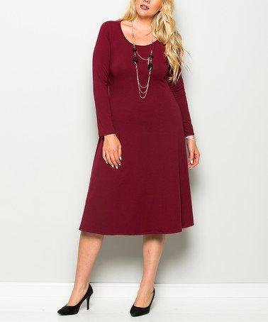 Look at this #zulilyfind! Burgundy Scoop Neck Midi Dress - Plus #zulilyfinds