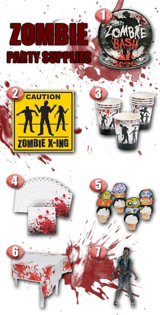 7 Gruesome Zombie Party Supplies from wwwDiscountPartySuppliescom