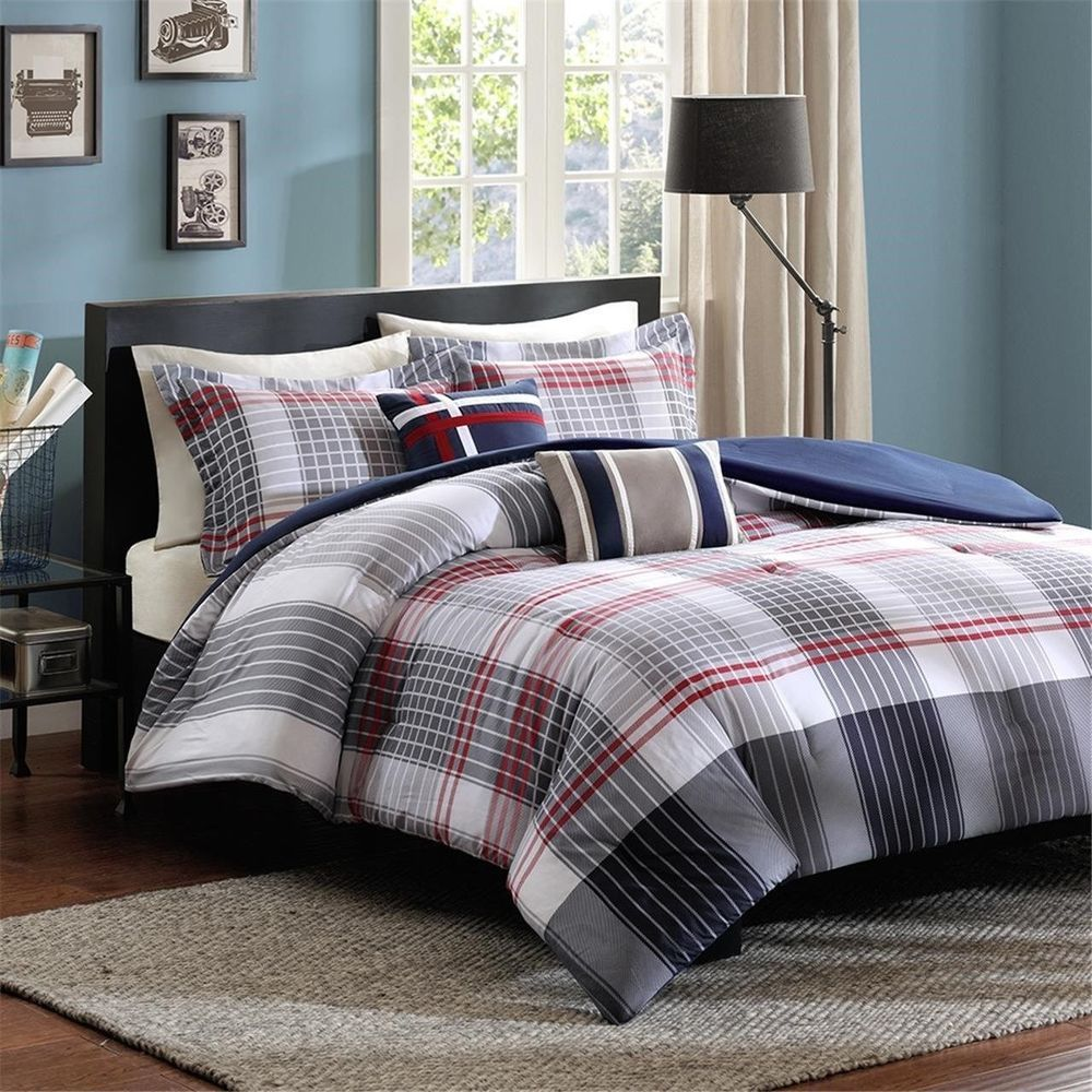 comforters home stagger twin design ideas plaid and outstanding black stripe red bedroom bedding with painted comforter set contemporary grey