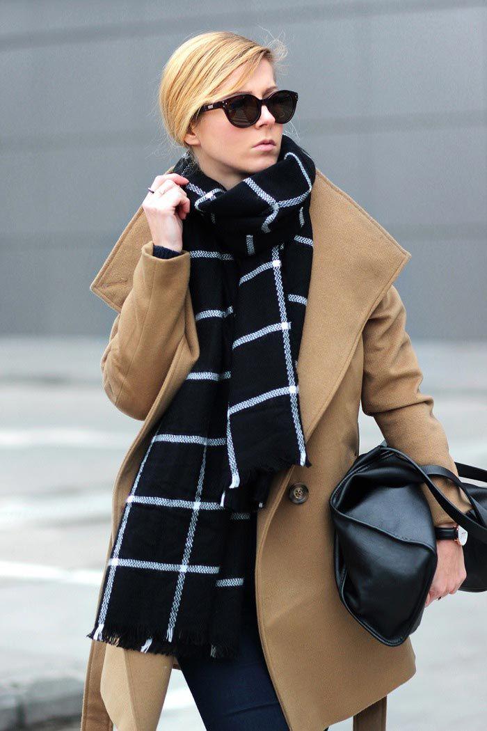 Bloglovin Blog Graphic Grid Print Scarf Camel Coat Black Leather Tote Bag Fall Winter Style Via Sirma Markova
