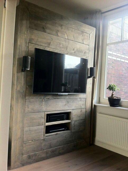 Tv meubel steigerhout gemaakt door kovabe tv meubel for Steigerhout wandmeubel