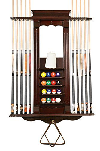 A Billiard Cue Rack Wall Mount Hardwood Billiard//Pool Cue Rack Several Colors /& Styles Available