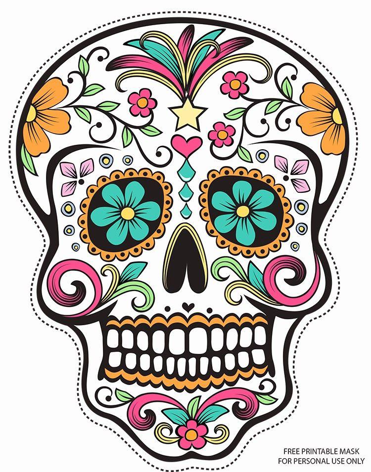 mexican art sugar skull printable mask halloween - Mexican Halloween Skulls