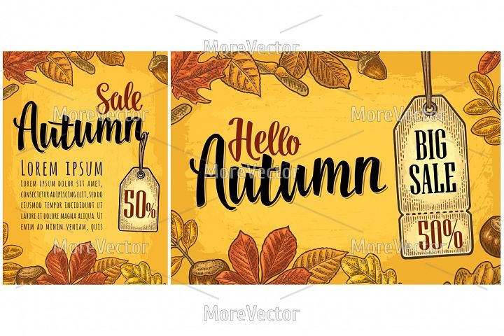 Poster HELLO AUTUMN lettering with set leaf and acorn #helloautumn