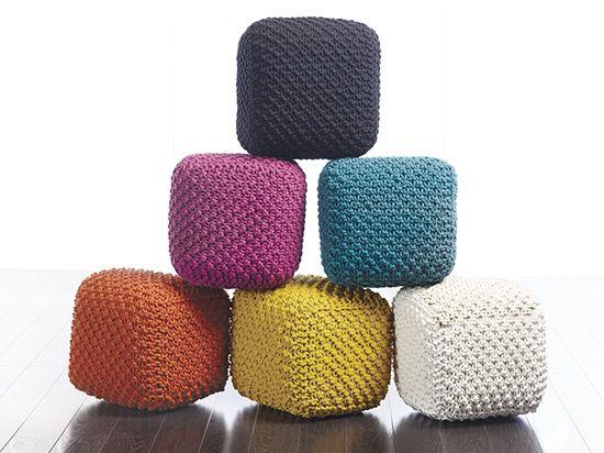 Dania   Ottomans   Tonia Knitted Pouf   Terracotta $89
